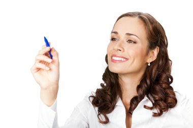 Smiling business woman on white background