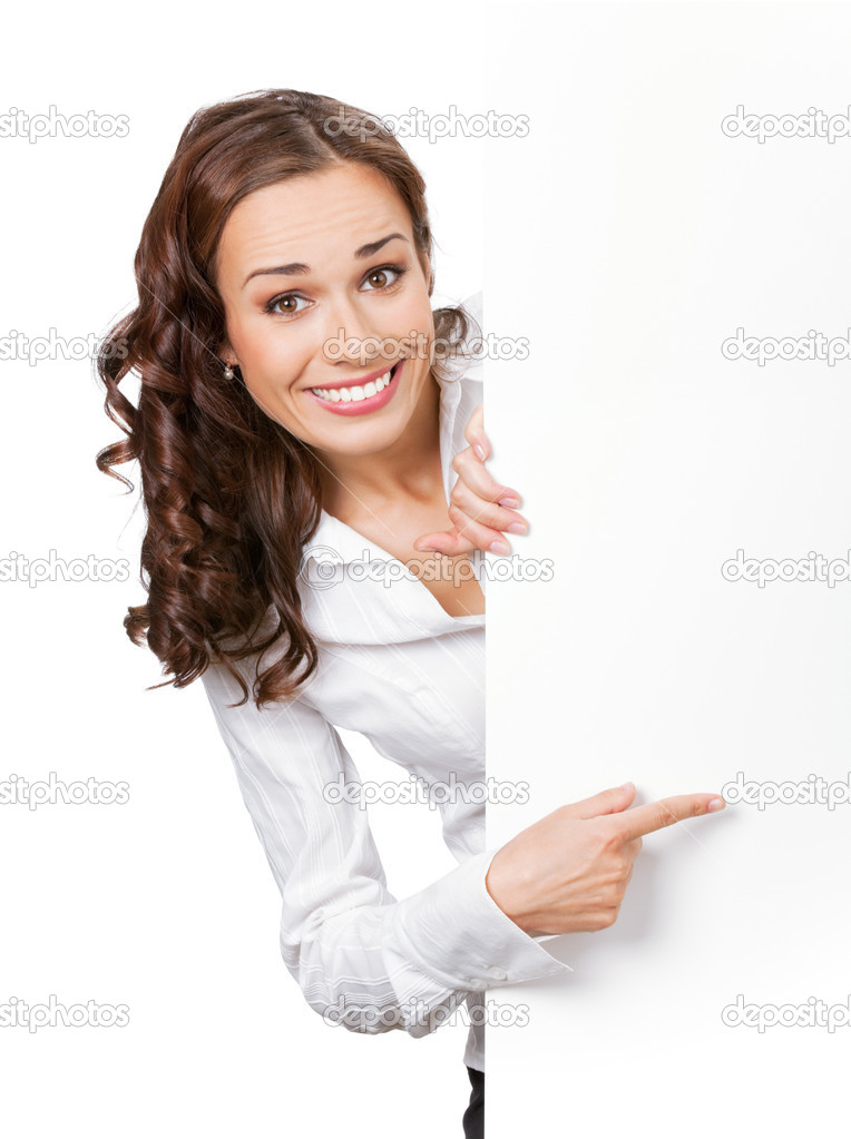 Happy smiling young business woman showing blank signboard, isolated on white background — Stock Photo #6300740