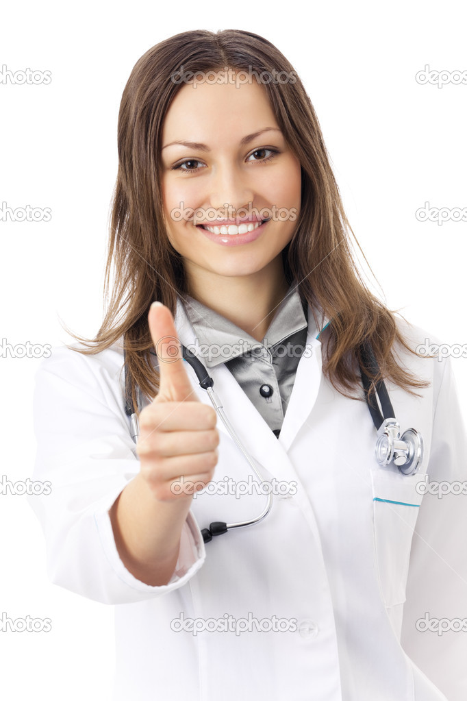 Happy female doctor with thumbs up, isolated on white — Stock Photo #6308005