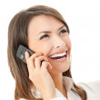Young happy smiling businesswoman, isolated — Stock Photo