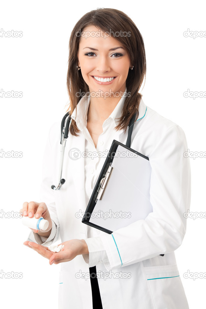 Happy smiling female doctor with medical drug, isolated on white background — Stock Photo #6310343