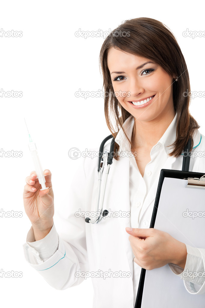 Female doctor or nurse with syringe and clipboard, isolated on white background  Stock Photo #6310353