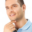 Portait of thinking man, looking up, smiling, isolated on white — Stock Photo