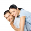 Portrait of young happy smiling attractive couple, isolated on w — Stock Photo