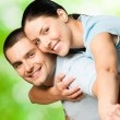 Stock Photo: Portrait of young happy smiling couple