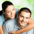 Portrait of young happy smiling couple — Foto de Stock