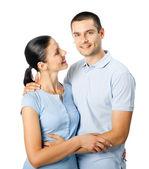 若い幸せな笑顔 w に分離の魅力的なカップルの肖像画 — ストック写真