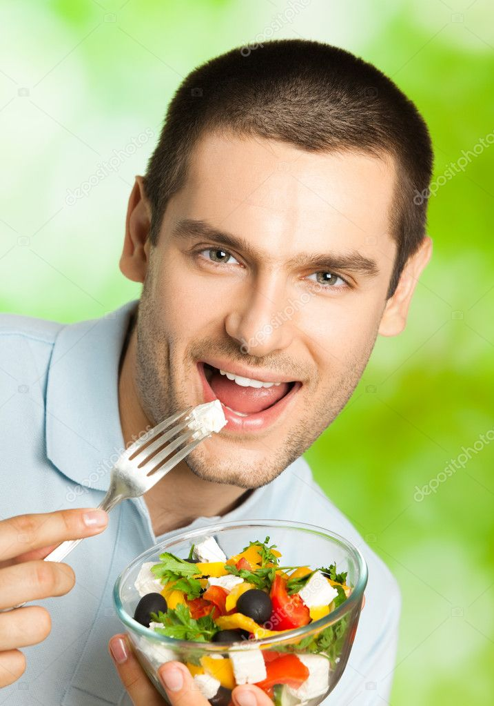 Young Happy Smiling African American Black Teen Girl With: Portrait Of Young Happy Man Eating Salad, Outdoors