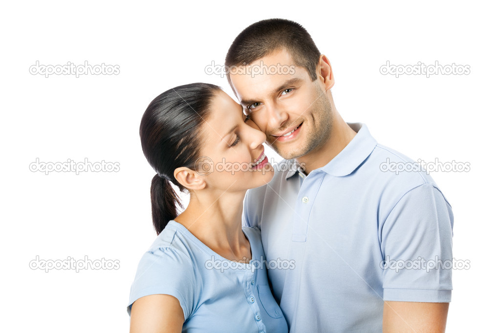 Portrait of young happy smiling attractive couple, isolated on white background — Stock Photo #6324647