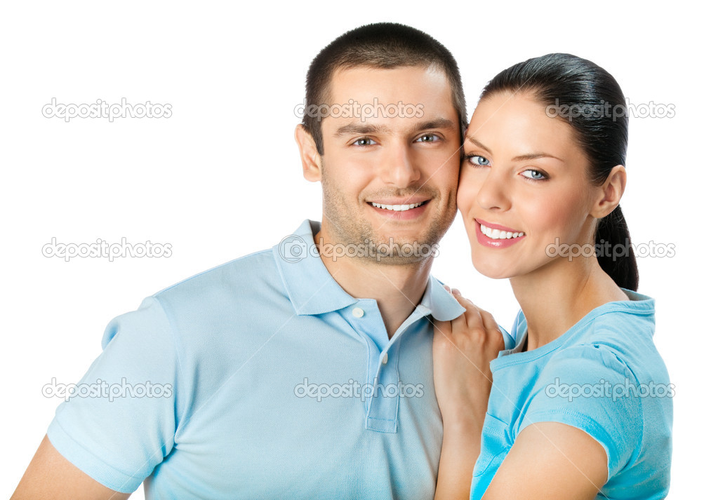 Portrait of young happy smiling embracing attractive couple, isolated on white background  Stock Photo #6325712
