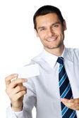 бизнесмен с визитной карточкой, на белом — Стоковое фото