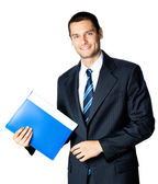 Businessman with folder, isolated on white background — Stock Photo