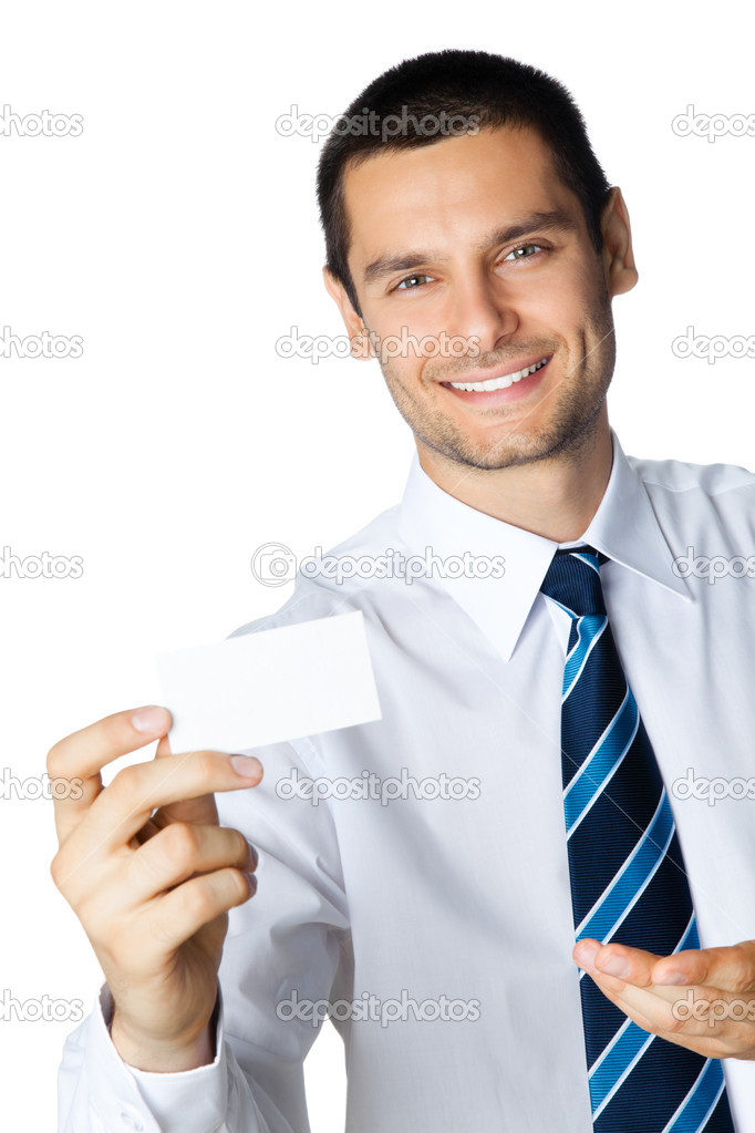 Portrait of smiling businessman showing blank business card, isolated on white background — Stock Photo #6390143
