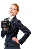 Calculadora de apresentando empresária, isolada no branco — Foto Stock