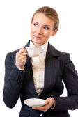 Businesswoman with coffee, isolated on white — Stock Photo