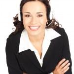 support telefon operatör i headset, på vitt — Stockfoto