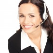Support phone operator in headset, on white — Stock Photo #6413081
