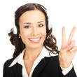 Stock Photo: Support operator showing two fingers, on white
