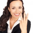 Businesswoman showing three fingers, on white — Stock Photo