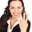 Businesswoman showing four fingers, on white — Photo #6413267