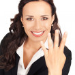 Businesswoman showing four fingers, on white — Stock Photo #6413267