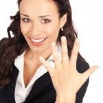 femme d'affaires montrant cinq doigts, sur blanc — Photo