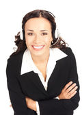 Support phone operator in headset, on white — Stock Photo