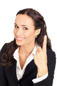 Businesswoman showing one finger, on white — Stock Photo