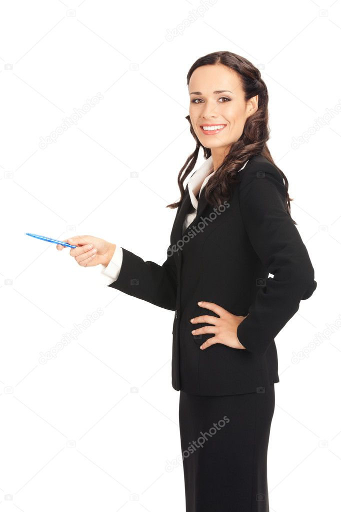 Portrait of happy smiling beautiful young cheerful business woman showing something, isolated on white background — Stock Photo #6413024