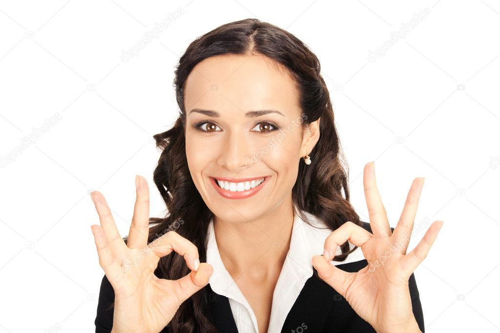 Happy smiling young business woman showing okay gesture, isolated on white background — Photo #6413221