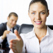 Portrait of successful businesswoman giving hand for handshake a — Stock Photo
