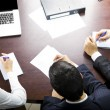 Top view of three businesspeople working at office — Stock Photo