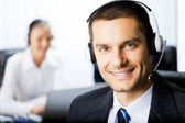 Two support phone operators at workplace — Stock Photo