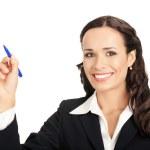 Business woman writing, on white — Stock Photo
