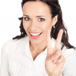 Businesswoman showing two fingers, on white — Stock Photo #6573147