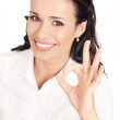 Business woman with okay gesture, on white — Stock Photo #6573200