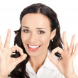 Business woman with okay gesture, on white — Stock Photo #6573230