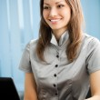Portrait of successful happy smiling businesswoman working with — Stock Photo