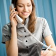 Portrait of happy smiling businesswoman with phone and document — Stock Photo