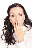 Business woman covering mouth, isolated — Foto de Stock