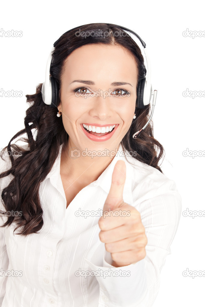 Portrait of happy smiling cheerful customer support phone operator in headset showing thumbs up gesture, isolated on white background — Stock Photo #6573414