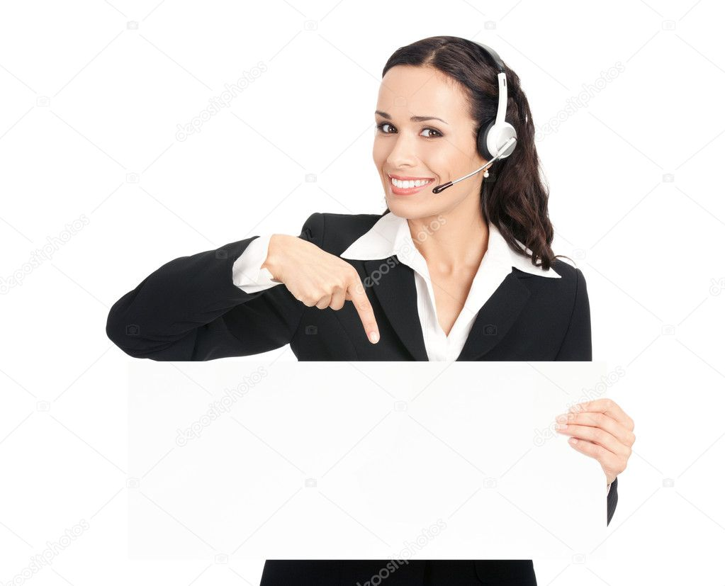 Happy smiling young customer support phone operator in headset showing blank signboard, isolated on white background — Stock Photo #6573541