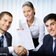Stock Photo: Businesspeople handshaking with document at office