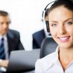 Customer support phone operator — Stock Photo