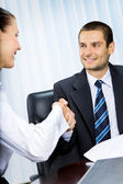 Businesspeople, or businessman and client, handshaking — Stock Photo