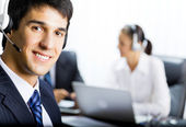 Customer support phone operator — Stock Photo