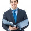 Portrait of happy smiling businessman with folder, isolated on w — Stock Photo