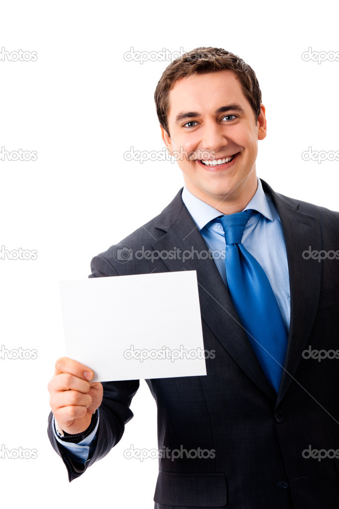 Young businessman showing signboard, isolated on white  Stock Photo #6682020