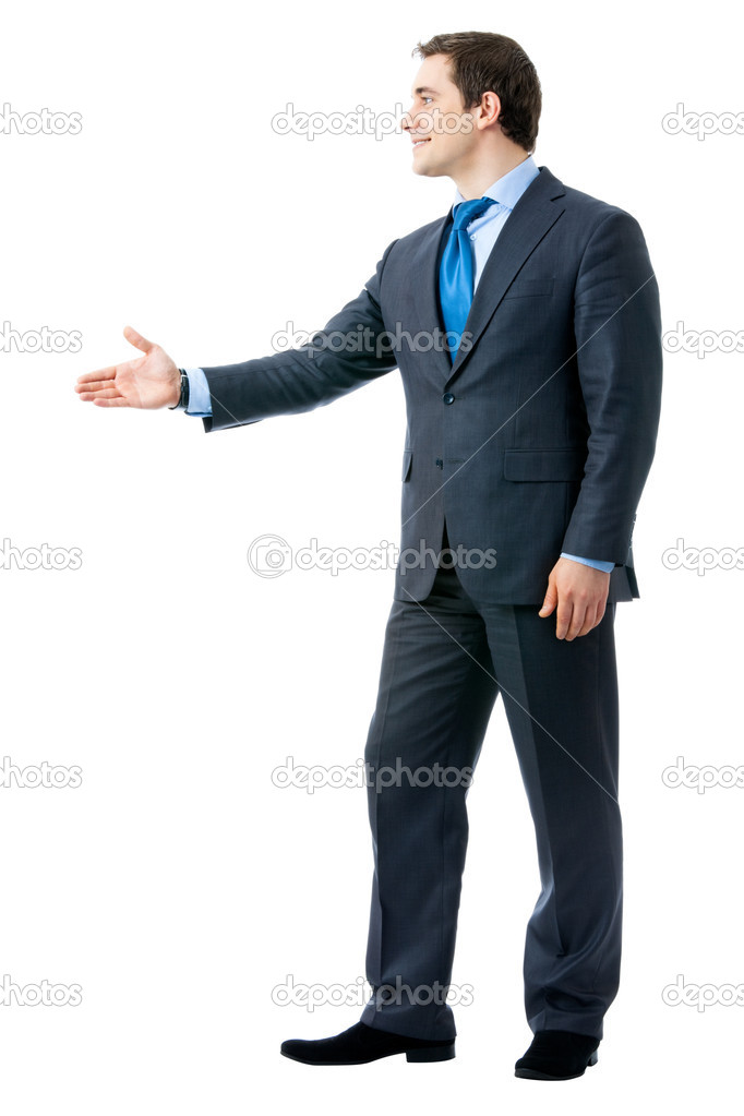 Full body portrait of businessman giving hand for handshake, isolated on white background — Stock Photo #6682139
