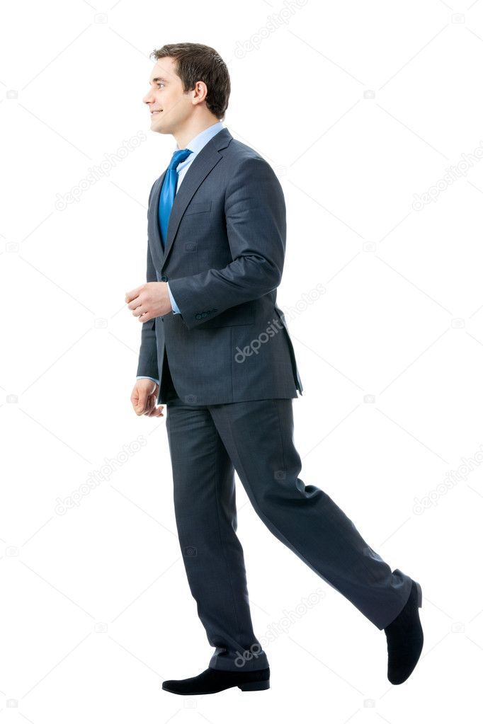 Full body portrait of walking businessman, isolated on white background — Stok fotoğraf #6682161